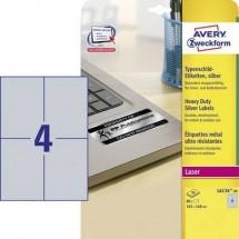 Avery-Zweckform L6134-20 Etichette 105 x 148 mm Pellicola in poliestere Argento 80 pz. Permanente Etichetta per