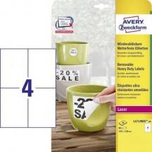 Avery-Zweckform L4719REV-20 Etichette 105 x 148 mm Pellicola in poliestere Bianco 80 pz. Staccabile Etichetta