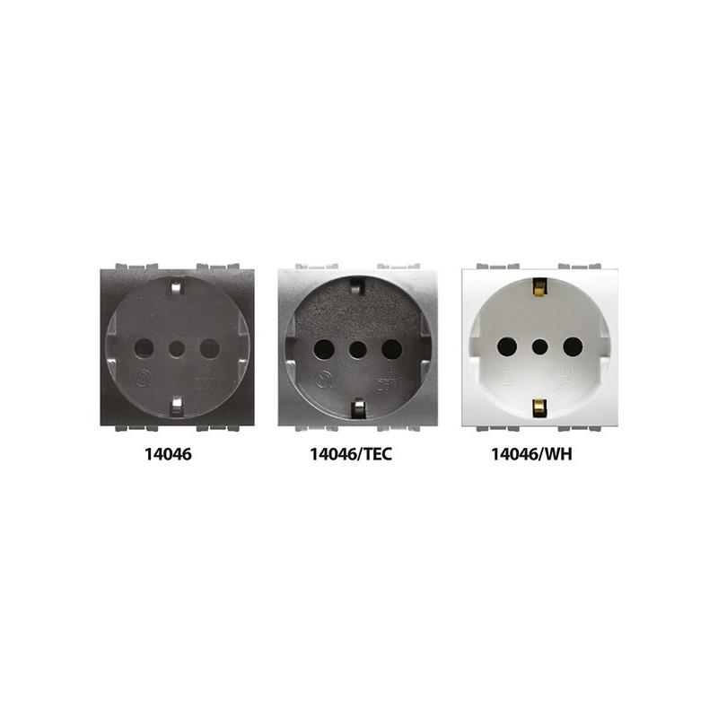 Presa Unel Schuko 2P + Terra Compatibile Bticino Luna 16A 250V Bianco