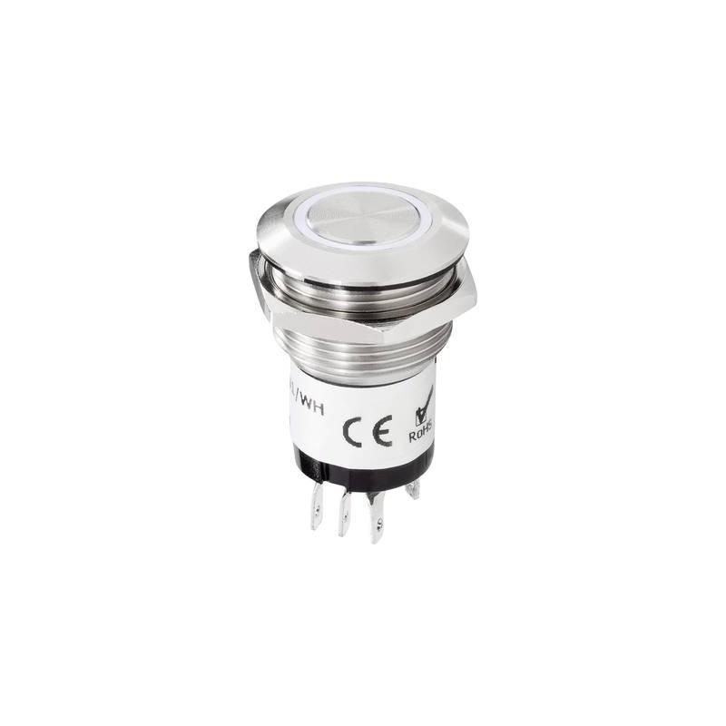 Renkforce 1227541 Tasto per campanello Illuminato 1 scomparto Acciaio, Bianco 24 V DC/ 2 A, 24 V AC/ 1 A