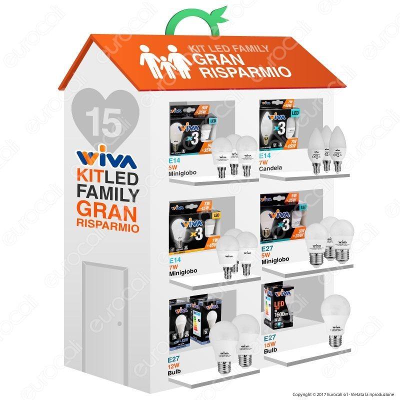Wiva kit led family gran risparmio 15 lampadine e14 e for Kit lampadine led