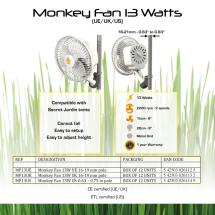 Ventilatore Clip Fan Monkey Fan 16W 20Cm