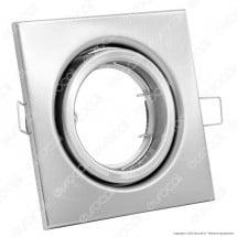 V-Tac Vt-7227 Portafaretto Orientabile Quadrato Da Incasso Per Lampadine Gu10 E Gu5.3 Nichel