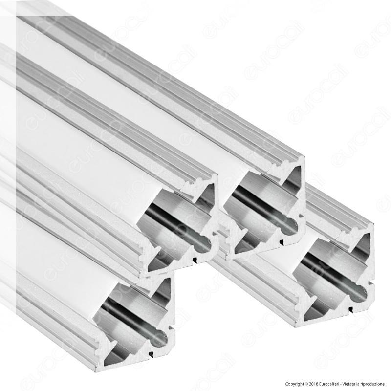 V-Tac 4 Profili Angolari In Alluminio Per Strisce Led Copertura Opaca - Lunghezza 2 Metri