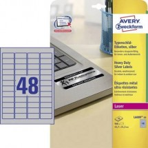 Avery-Zweckform L6009-20 Etichette 45.7 x 21.2 mm Pellicola in poliestere Argento 960 pz. Permanente Etichetta per