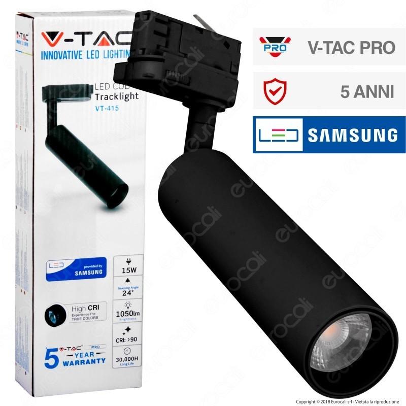 V-Tac Pro Vt-415 Track Light Led Cob 15W Colore Nero Chip Samsung