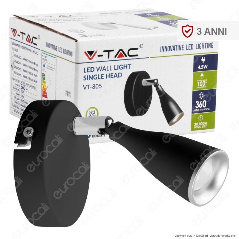 V-Tac Vt-805 Lampada Da Muro Wall Light Led 4,5W Colore Nero