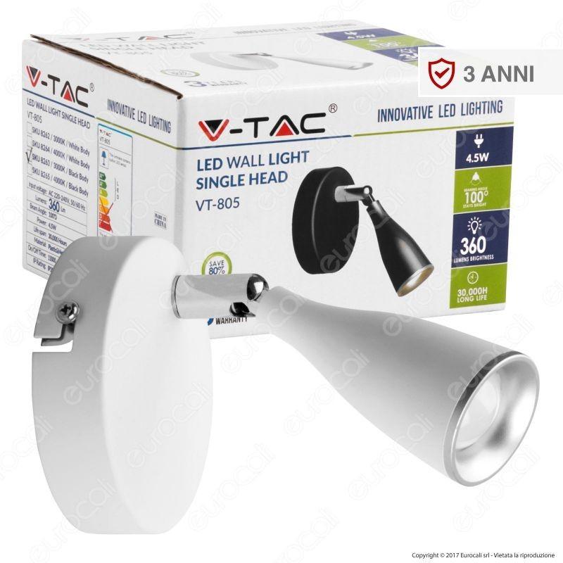V-Tac Vt-805 Lampada Da Muro Wall Light Led 4,5W Colore Bianco