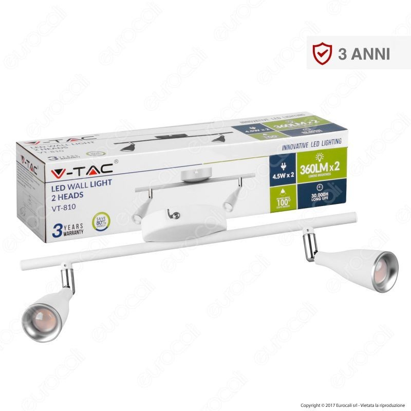 V-Tac Vt-810 Lampada Da Muro Wall Light Led 9W Colore Bianco