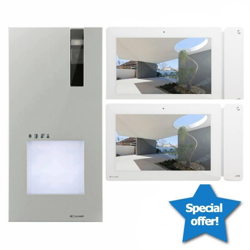 """Kit Videocitofono Bifamiliare Comelit Quadra Monitor 7"""" Pollici - Adatto per 2 Appartamenti"""