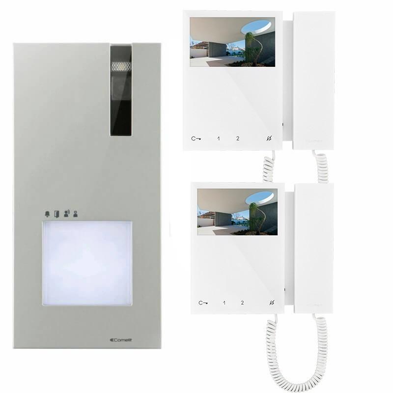 """Kit Videocitofono Bifamiliare Comelit Quadra a Colori Monitor con Cornetta 4,3"""" Pollici prezzi costi offerta"""