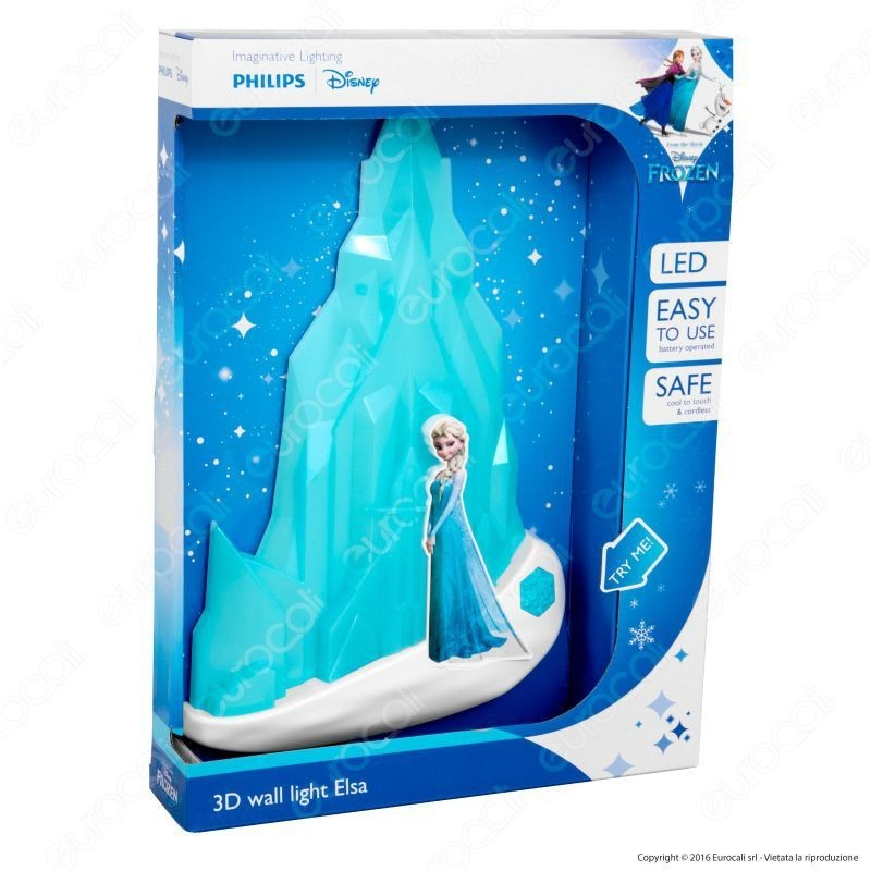 Philips 3D Wall Light Disney Frozen Elsa Lampada Da Muro Led A Batteria