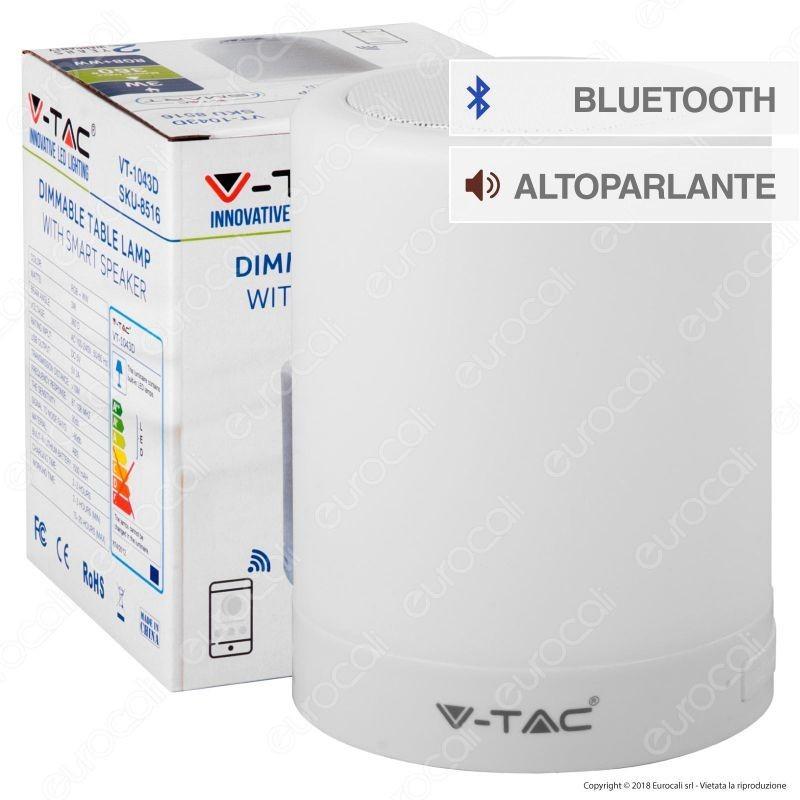 V-Tac Vt-1043 Lampada Da Tavolo Led 3W Touch Dimmerabile Smart Con Speaker