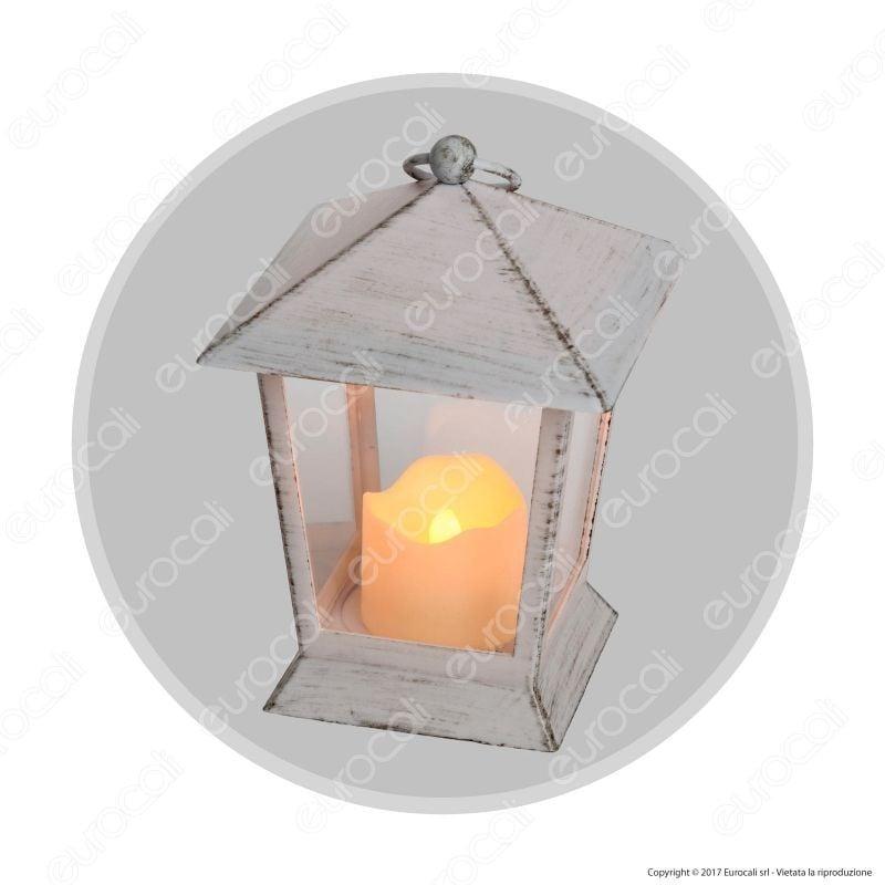 Lanterna Old Style Con Candela Led Luce Bianco Caldo