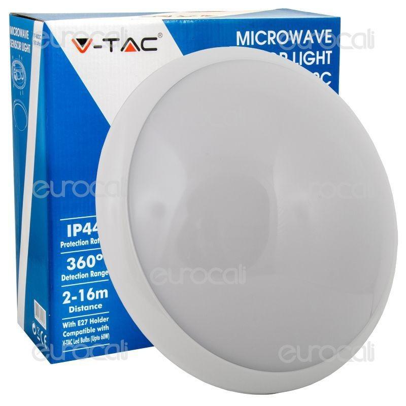 V-Tac Vt-8002 C Plafoniera Portalampada Adattatore Con Sensore Di Movimento Microonde Per Lampadine E27