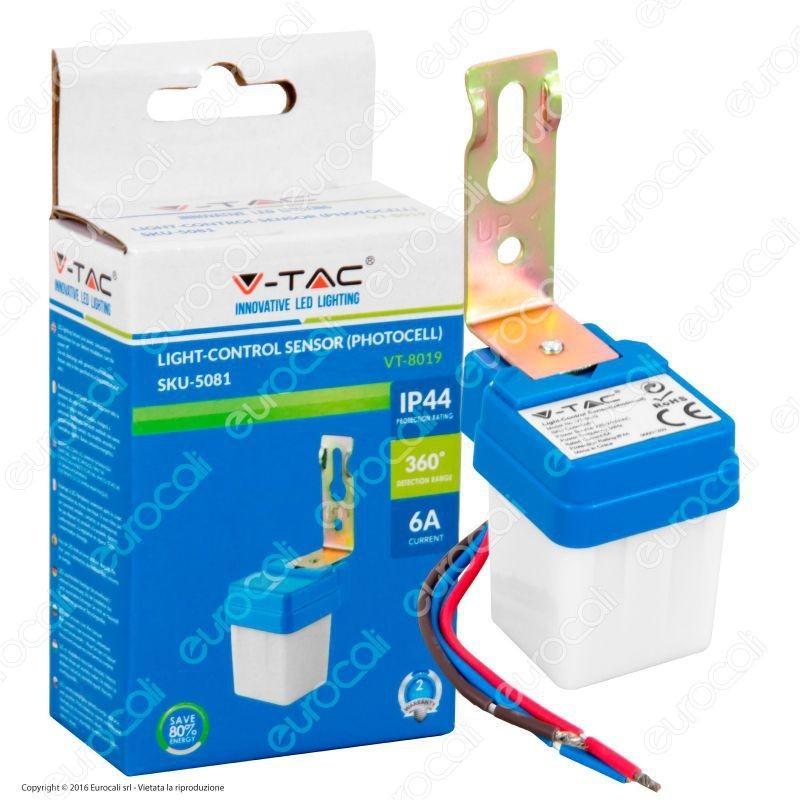 V-TAC VT-8019 SENSORE CREPUSCOLARE FOTOCELLULA IP44 360° 6A SKU-5081 PER LAMPADE
