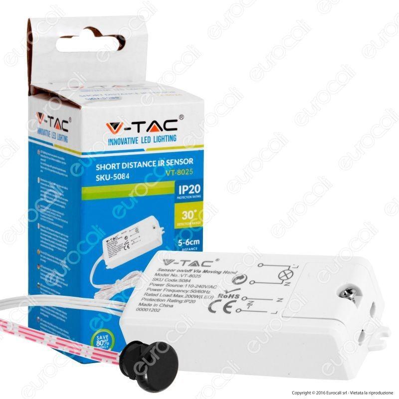 V-Tac Vt-8025 Sensore A Infrarossi Attivazione Tramite Movimento Corto Raggio Per Lampadine