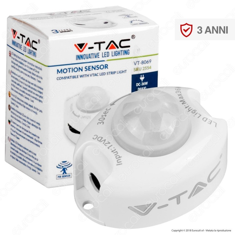 V-Tac Vt-8069 Sensore Di Movimento A Infrarossi Per Strisce Led