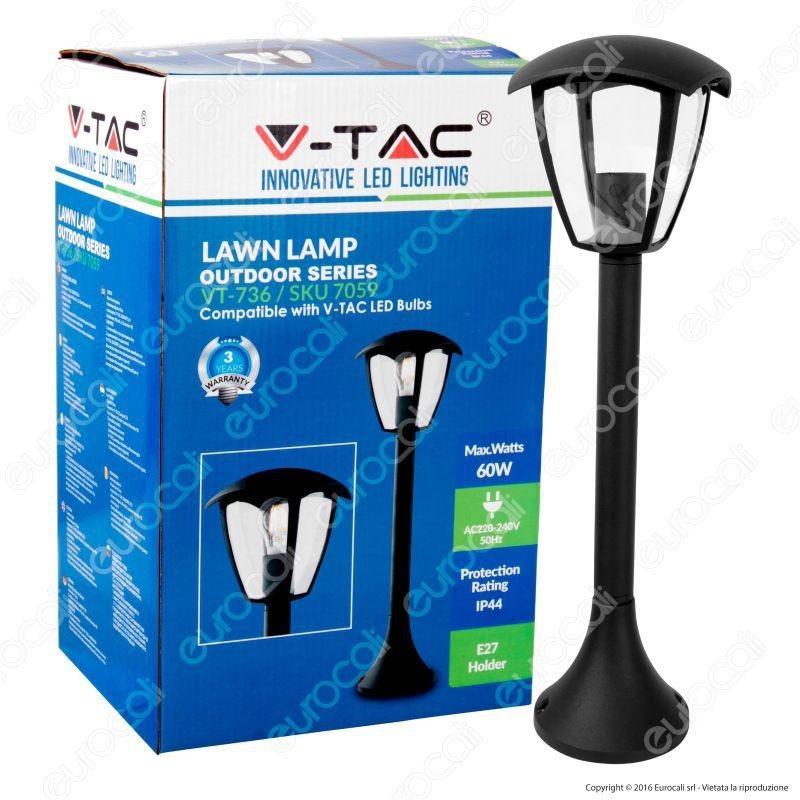 V-Tac Vt-736 Portalampada Da Giardino Con Fissaggio A Terra Per Lampadine E27
