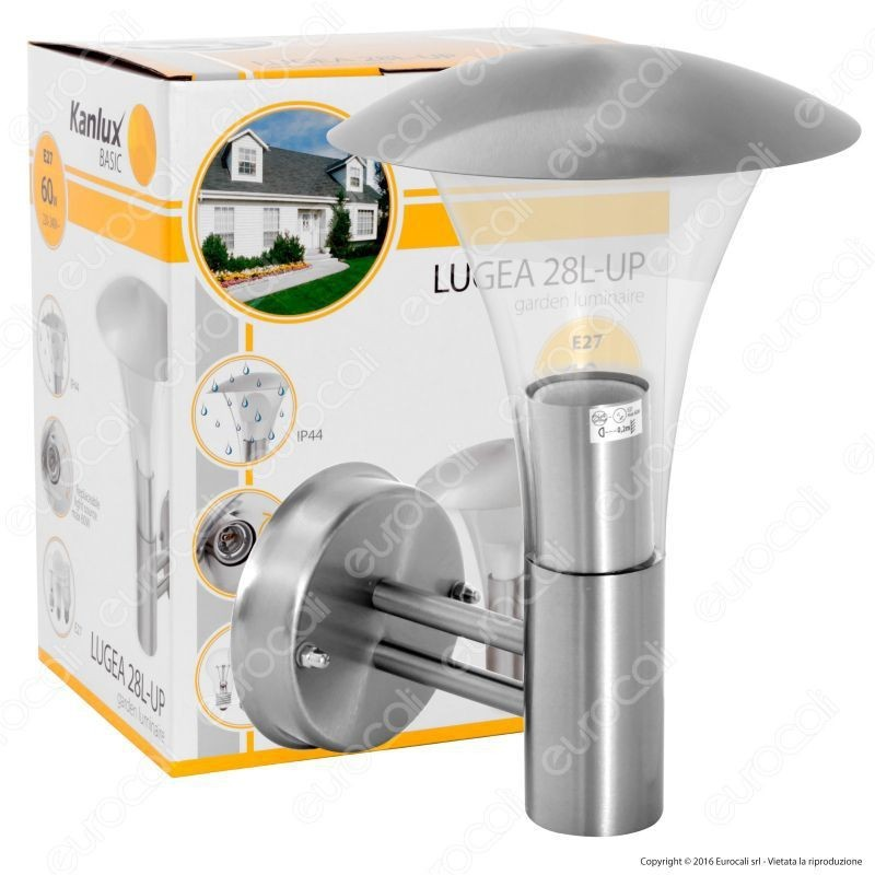 Kanlux Lugea 28L-Up Portalampada Da Giardino Wall Light Da Muro Per Lampadine E27