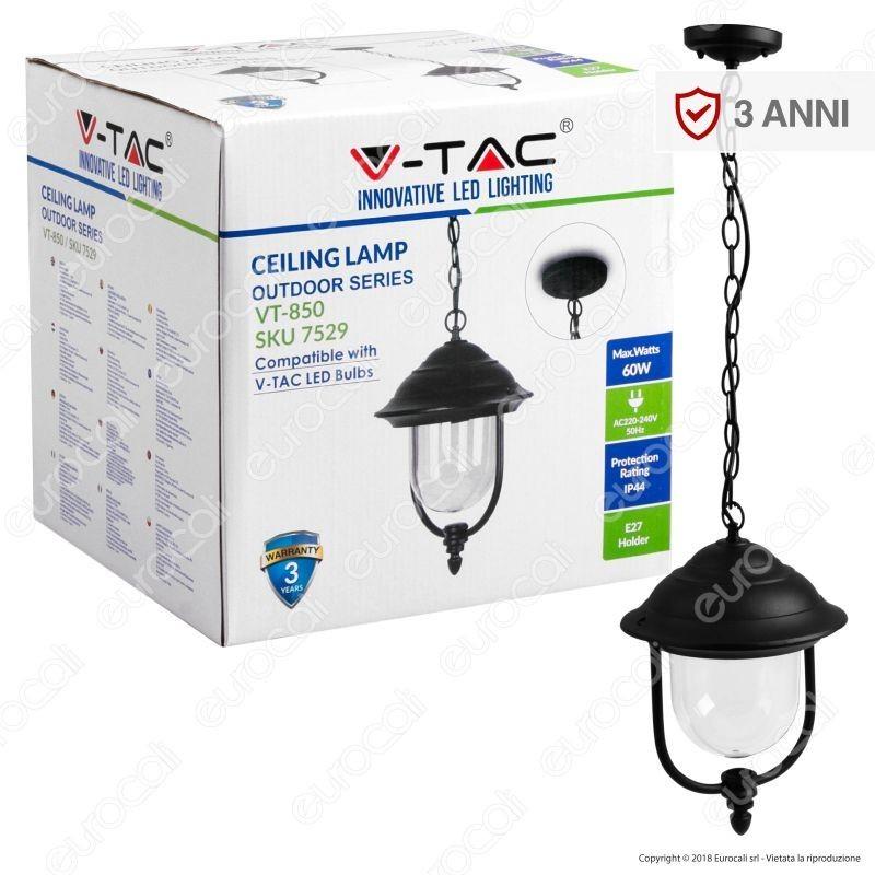 V-Tac Vt-850 Portalampada Da Giardino Con Attacco A Soffitto Per Lampadine E27