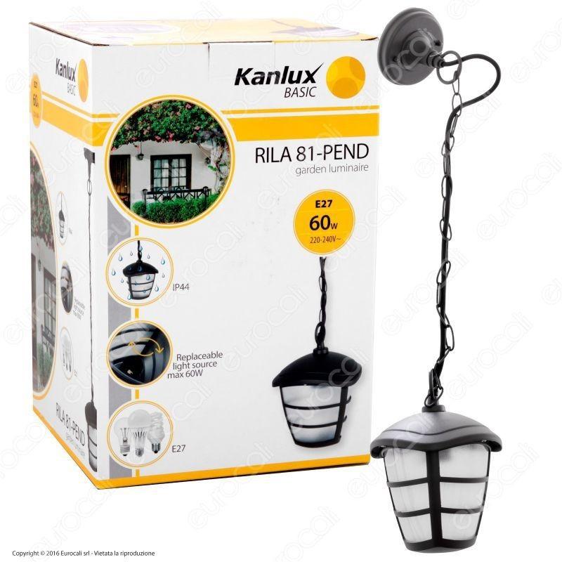 Kanlux Rila 81-Pend Portalampada Da Giardino Con Attacco A Soffitto Per Lampadine E27