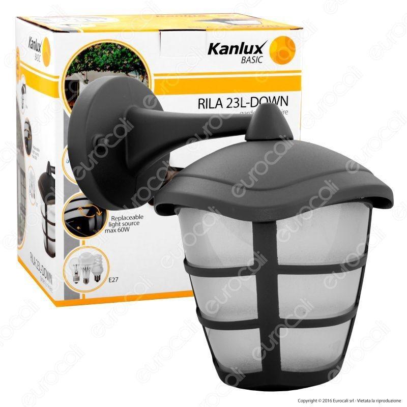 Kanlux Rila 23L-Down Portalampada Da Giardino Wall Light Da Muro Per Lampadine E27