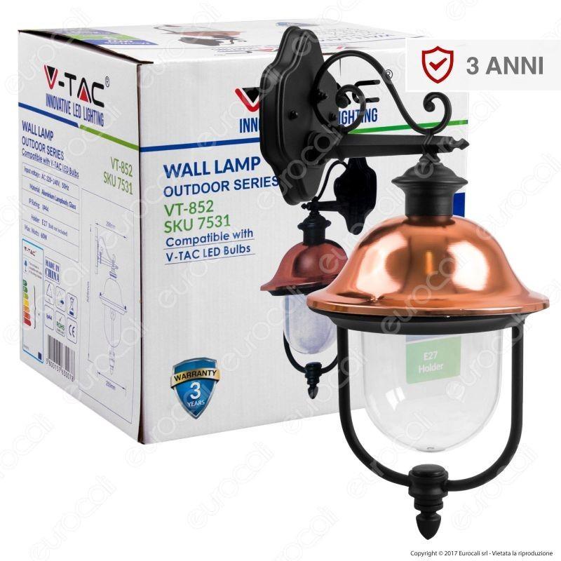 V-Tac Vt-852 Portalampada Da Giardino Wall Light Da Muro Per Lampadine E27