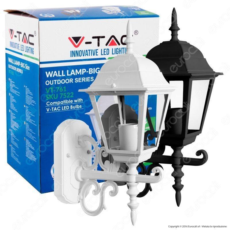 V-Tac Vt-761 Portalampada Da Giardino Wall Light Da Muro Per Lampadine E27