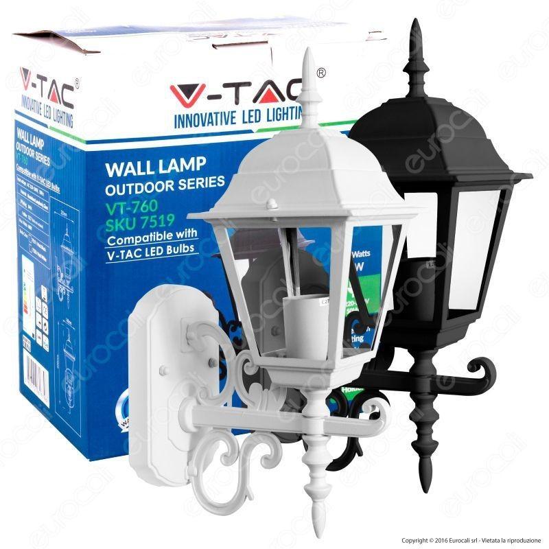 V-Tac Vt-760 Portalampada Da Giardino Wall Light Da Muro Per Lampadine E27