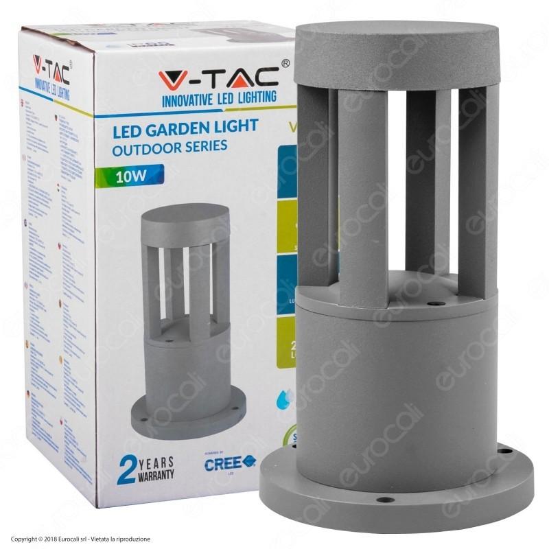 V-Tac Vt-830 Lampada Led Da Giardino Con Fissaggio A Terra 10W Colore Grigio Ip65