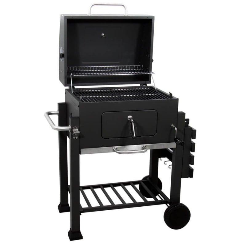 Barbecue a Carbonella Nero in Acciaio Altezza Regolabili con Raccogli Cenere