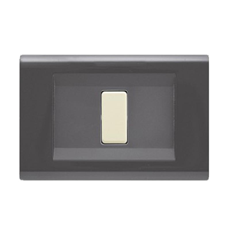 Placca Grigio Scuro Compatibile Bticino Magic 1, 2, 3, 4, Schuko, 5 Moduli