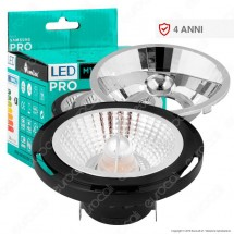 Marino Cristal Serie Pro Lampadina Led G53 16W Faretto Spotlight Nero Ar111