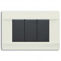 Placche Ral 45 Lucida Per Scatola Rettangolare Bianco Banquise 3 Moduli Ave 45P03BG