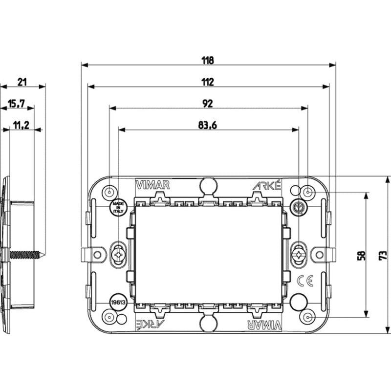 Supporto 3 Moduli Vimar Arké 19613 per Scatole Rettangolari Tecnopolimero