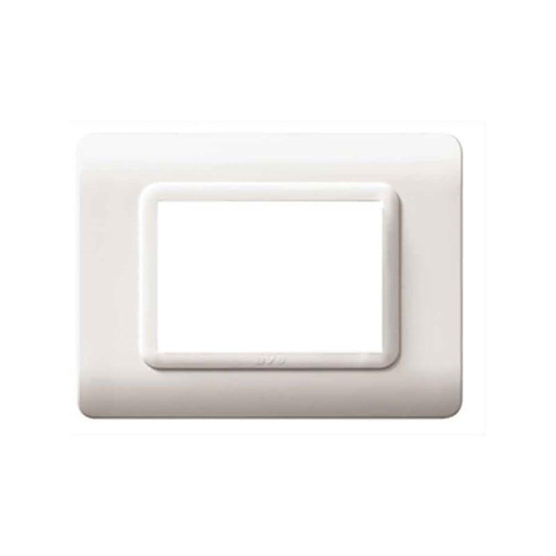 Placca Tecnopolimero 44 per scatola rettangolare colore Bianco Ral 9010 - cornice cromata - 3 moduli.