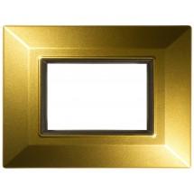 Placca Compatibile Vimar Eikon e Plana Oro Satinato 3, 4, 7 Posti Tecnopolimero