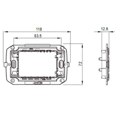 Supporto 3 Moduli con 2 Viti Incluse Gewiss Chorus Gw16803