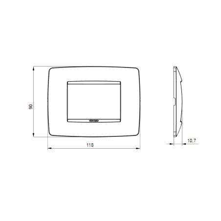 Placca Cromo 3 Posti Gewiss Chorus One Gw16103MC Tecnopolimero Metallizzato
