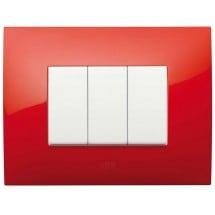 Placca 3 moduli colore ROSSO FUOCO Abb Chiara 2CSK0305CH