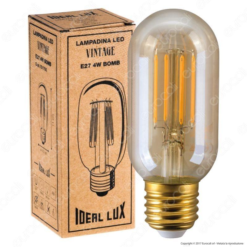 Ideal Lux Lampadina LED Vintage E27 4W Tubolare Filamento Ambrata