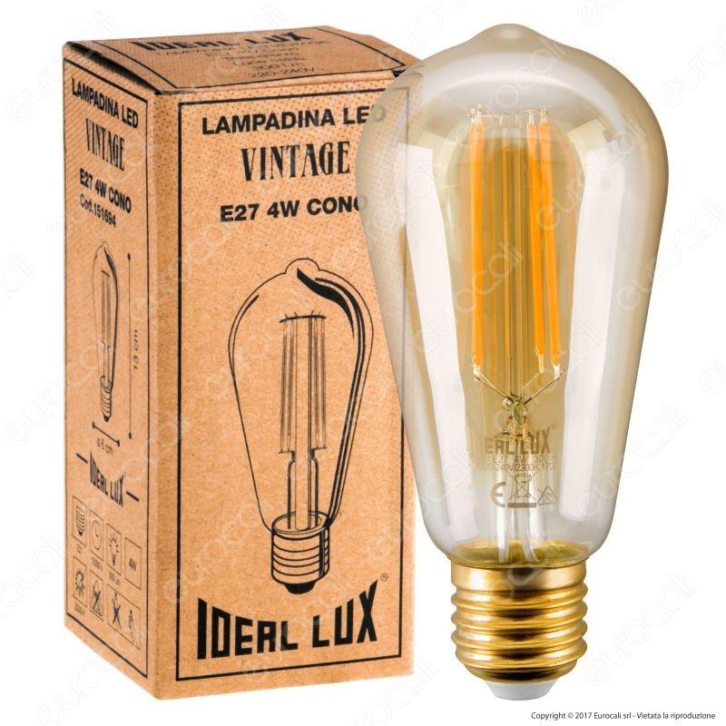 Edison Vintage Lampadina LED E27 4 W Bulb ST64 Filamento Ambrata Luce Bianco Caldo Antico Decorativa 6 Pezzi A+