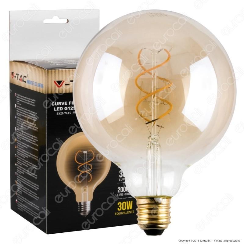 Lampadina led V-TAC 5W E27 bianco caldo 2700K VT-2045 A60 bianca filamento bulb