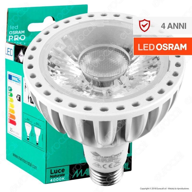 Marino Cristal Serie Pro Lampadina Led E27 25W Bulb Par Lamp Par30 Chip Osram 15Gradi