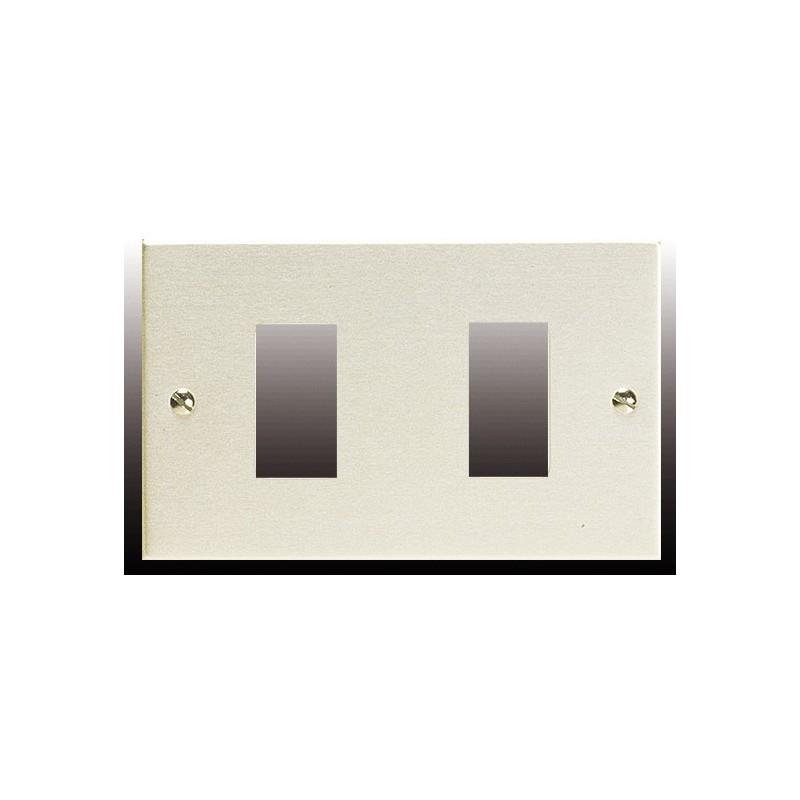 Placca 2 Fori Alluminio Anodizzato Compatibile Bticino Magic 1372.O