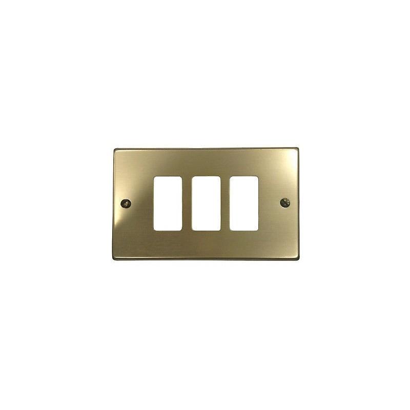 Placca 3 Fori Alluminio Anodizzato Bronzo Compatibile Bticino Magic 1383.3F