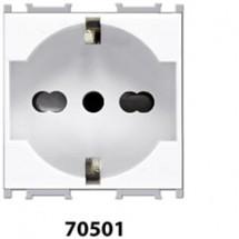 Presa di Sicurezza Universale Standard Italiano Schuko 2P+Terra Feb Elettrica serie Flat 10/16A 250V