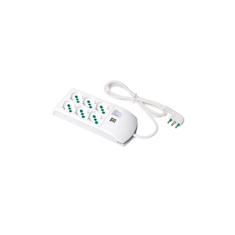 Multipresa 6 uscite + 2 USB