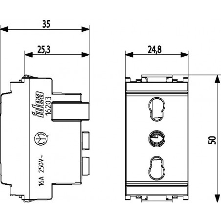 Bpresa SICURY 2P+T 16 A 250 V~ standard italiano tipo P17/11, colore bianco